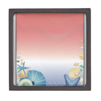 Red White Blue Starfish Shell Montage Premium Keepsake Box