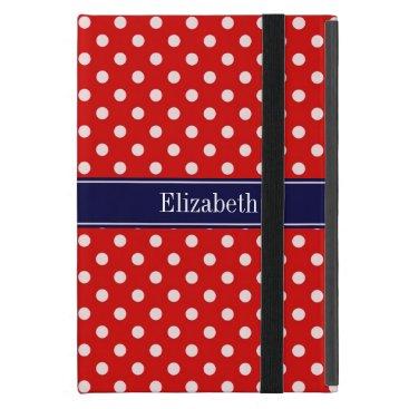 Red White Polka Dots Navy Blue Ribbon Monogram iPad Mini Cover