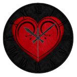 Red Wooden Rustic Grunge Heart Wallclock