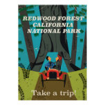Redwood California vintage travel poster