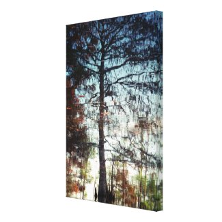 Reflection of Trees on the Water Nature Photo Stretched Canvas Prints