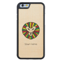 Reggae Lion Rastafari Colored Mane Carved Maple iPhone 6 Bumper