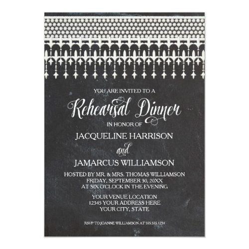 Rehearsal Dinner Rustic Chalkboard Lace Typography Invitation