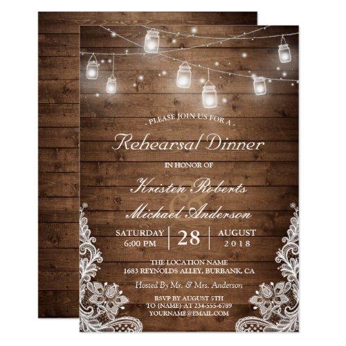 Rehearsal Dinner Rustic Wood Mason Jar Lights Lace Invitation