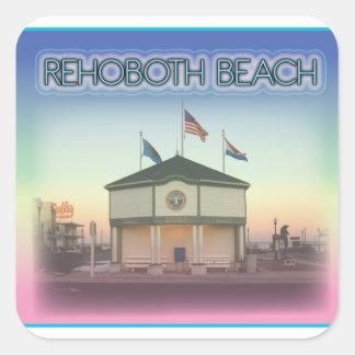 Rehoboth Beach Delaware - Rehoboth Ave Scene Square Sticker