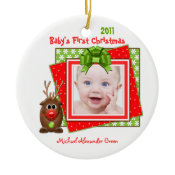 Reindeer Baby's First Christmas Photo Ornament ornament