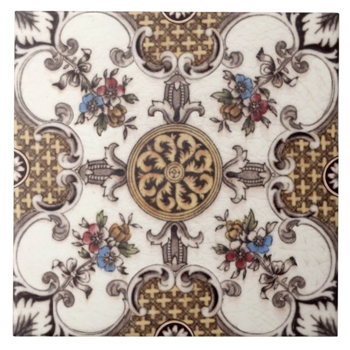 repro victorian english quatrefoil floral transfer ceramic tile zazzle com