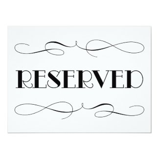 Reserved Seating | Wedding Sign 6.5x8.75 Paper Invitation Card