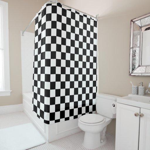 Retro Black And White Checkered Pattern Shower Curtain Zazzle