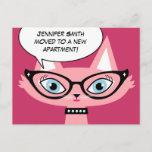 "❤️ Retro Cat Cartoon ""I moved"" New Address Postcard"