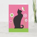 Pretty Retro Flowers & Butterfly Black Cat Birthday Card