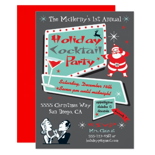 Retro Holiday Christmas party Invitations