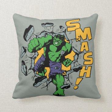 Retro Hulk Smash! Throw Pillow