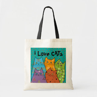 Retro i Love Cats Budget Tote Bag