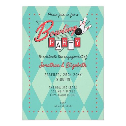 Retro Logo Bowling Party Invitation