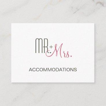 Retro Modern Wedding Accommodations Enclosure Card