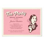 Retro Pink Tea Party Invitations