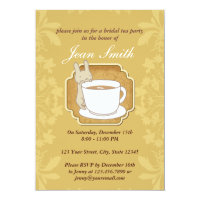 Retro Rabbit Bridal Tea Party Floral Invitation