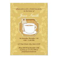 Retro Rabbit Bridal Tea Party Floral Invitation