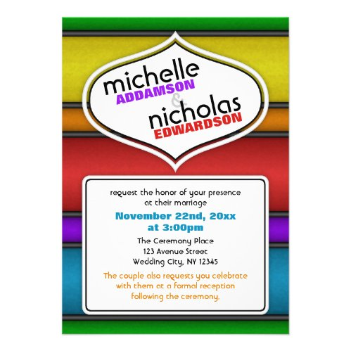 Retro Rainbow Modern Wedding Invitations