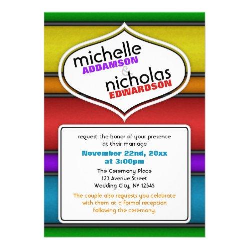 Retro Rainbow Modern Wedding Invitations