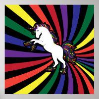 Retro Rainbow Unicorn Poster