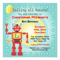 Retro Robot Birthday Party Invitations