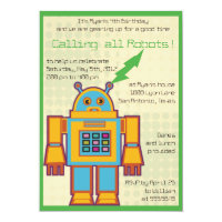 Retro Robot-kids birthday invitation -3