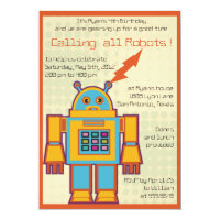 Retro Robot-kids birthday invitation -4