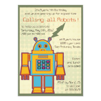 Retro Robot-kids birthday invitation -5