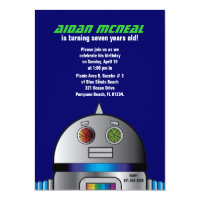 retro space robot BIRTHDAY invitation
