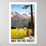 Retro Vail Valley Golfing Travel Poster