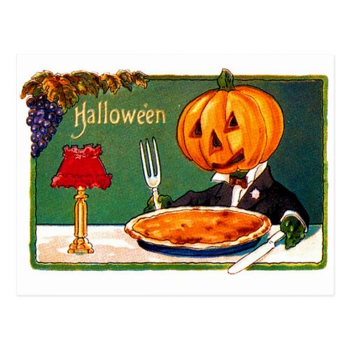 Retro Vintage Kitsch Halloween Pumpkin Eating Pie Postcard