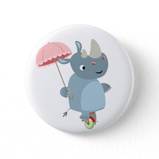 Rhino with Umbrella on Unicycle Button Badge button