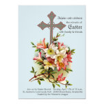 Pretty Cross & Flowers Easter Invitation