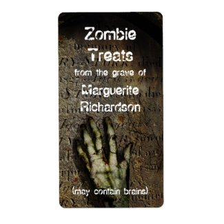 Rising Zombie Hand Halloween Baking Label