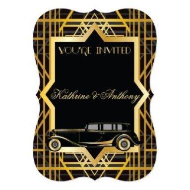 Roaring Twenties Gatsby Style Wedding Invitation