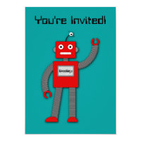 Robi the Retro Robot Invitation