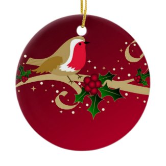 Robin and holly - Ornament ornament