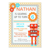 Robot Birthday Party Invitations - Modern