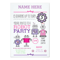 ROBOT Birthday Party Pink Gears Cogs Robots Invite