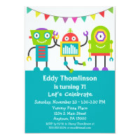 Robots Birthday Invitation Boys Colorful Robot