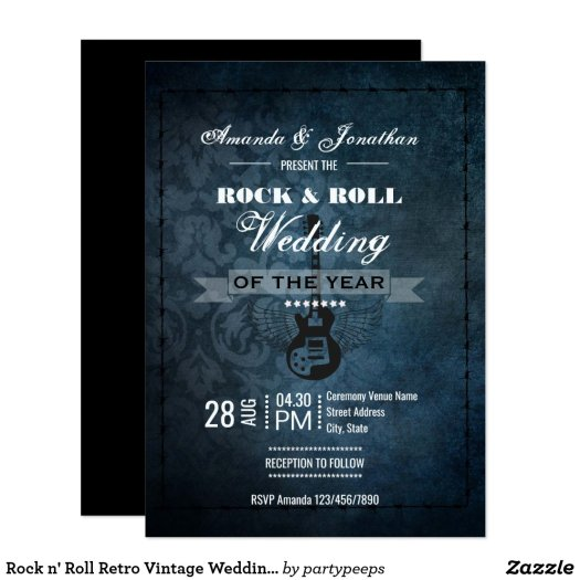 Rock n' Roll Retro Vintage Wedding Invitation
