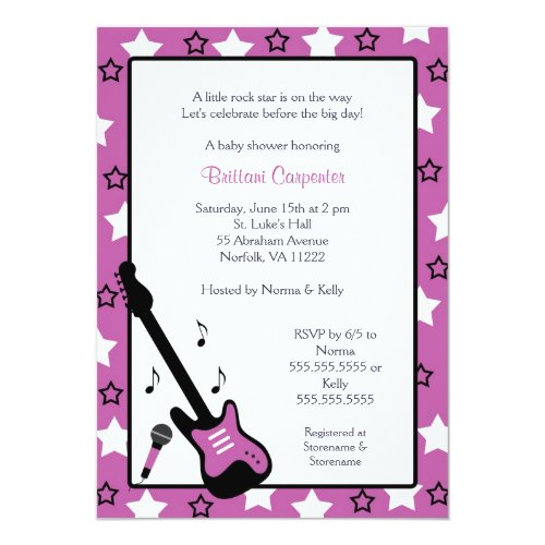 Rock Star Baby Shower Invite Purple 5x7