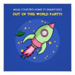 Pink & Green Rocket Birthday Party Invitation