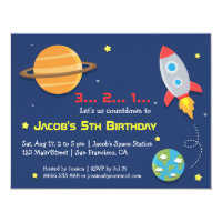 Rocket To Outer Space Party, Kids Birthday Card