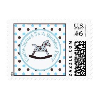 Rocking Horse Birthday Party Postage zazzle_stamp