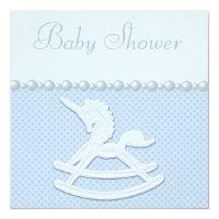 Rocking Horse Unicorn & Flowers Baby Boy Shower Card