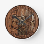 Rocky Mountain National Park wooden bear Round Wall Clocks
