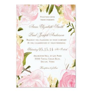 Romantic Red White Fl Art Wedding Invitation